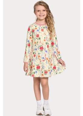 vestido manga longa infantil juvenil feminino floral bege alakazoo 67552 1