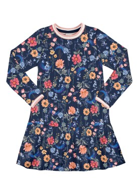 vestido manga longa infantil juvenil feminino floral marinho alakazoo 67552
