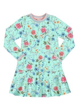 vestido manga longa infantil juvenil feminino floral verde alakazoo 67552