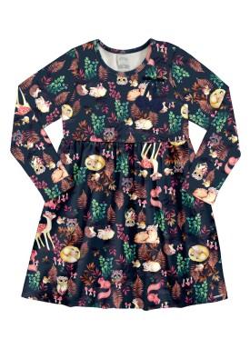 vestido manga longa infantil feminino floresta marinho alakazoo 67554