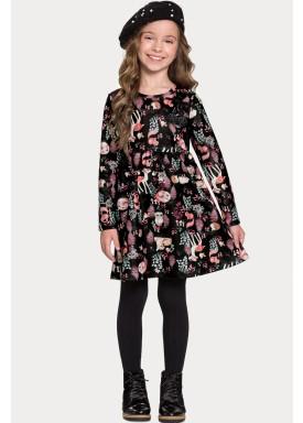vestido manga longa infantil feminino floresta preto alakazoo 67554 1