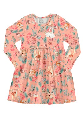 vestido manga longa infantil feminino floresta salmao alakazoo 67554