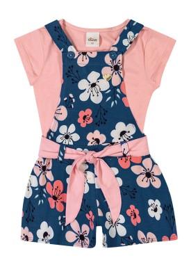conjunto infantil feminino flores rosa elian 231387