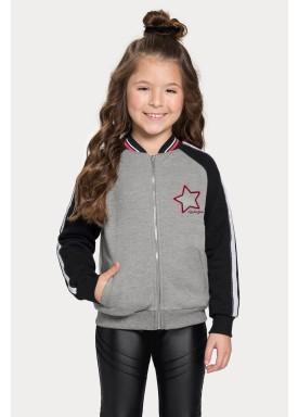 jaqueta moletom infantil juvenil feminina star preto alakazoo 67532 1