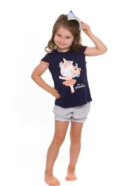 pijama curto infantil feminino ballericorn marinho evanilda 60 01 0005