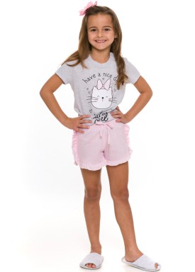 pijama curto infantil feminino cute girl mescla evanilda 49 01 0033