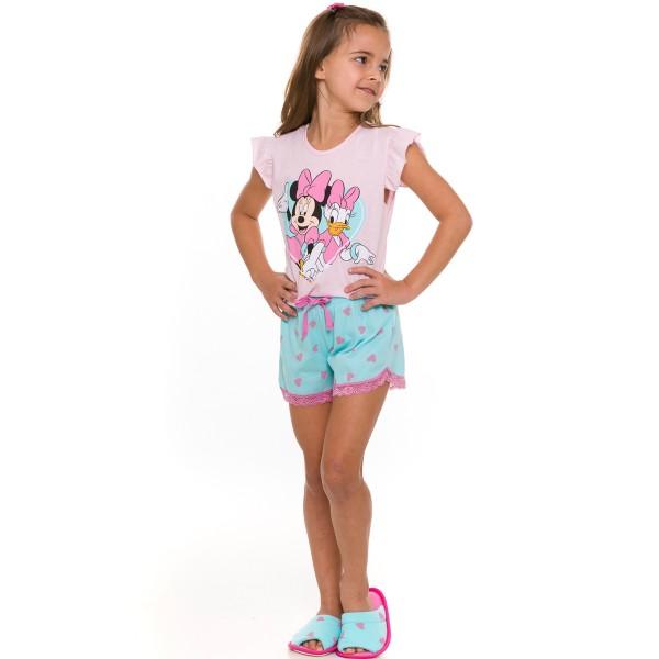 pijama curto infantil feminino disney rosa evanilda 49 03 0021