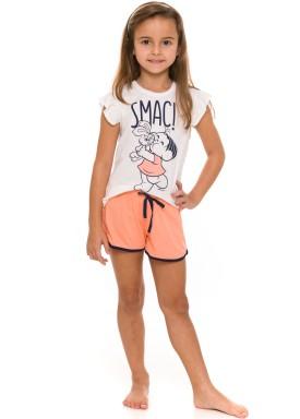 pijama curto infantil feminino turma monica branco evanilda 49 04 0020