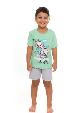 pijama curto infantil masculino turma monica verde evanilda 61 04 0008