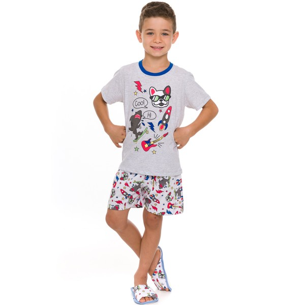 pijama curto juvenil masculino cool dog mescla evanilda 52 01 0018
