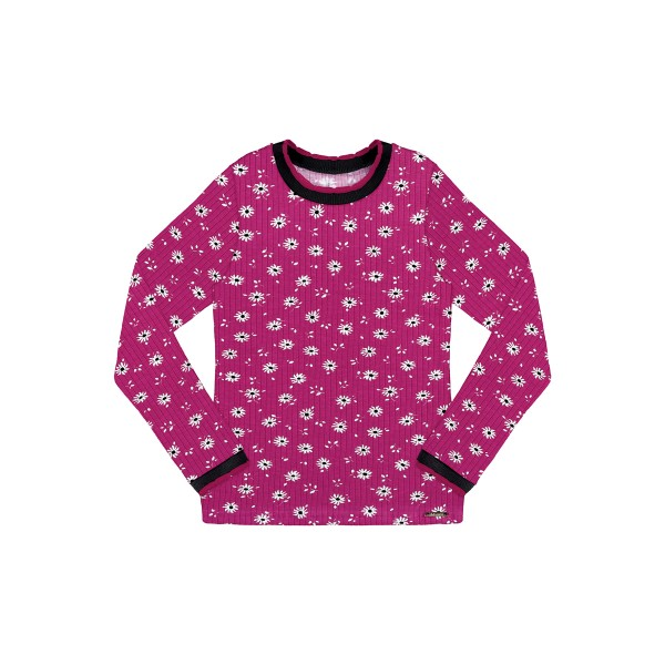blusa manga longa infantil juvenil feminino flores violeta alakazoo 67536