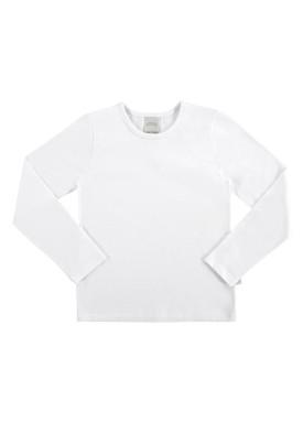 blusa basica manga longa infantil feminino branco alakazoo 00204