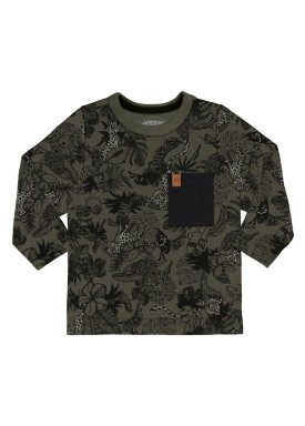 camiseta manga longa infantil masculina floresta verde alakazoo 67360