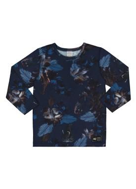 camiseta manga longa infantil masculina floral marinho alakazoo 67378