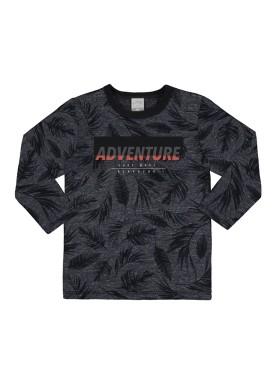 camiseta manga longa infantil masculino adventure preto alakazoo 67398