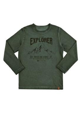 camiseta manga longa infantil masculino explorer verde alakazoo 67419