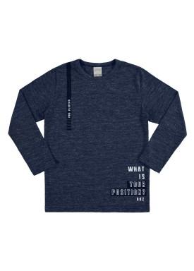 camiseta manga longa infantil juvenil masculino position marinho alakazoo 67420