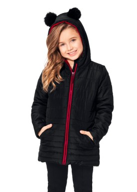 jaqueta infantil feminina pompom preto alakazoo 65769 1