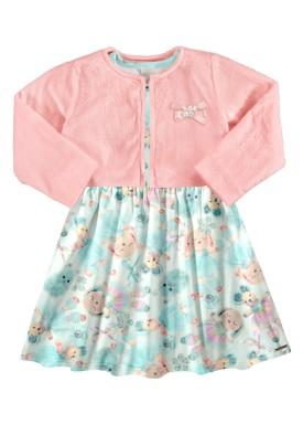 vestido casaco infantil feminino puppies salmao alakazoo 67484