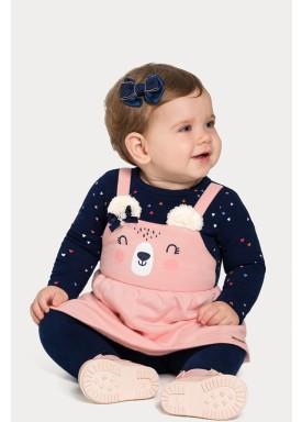 vestido moletom bebe feminino ursinho marinho alakazoo 67459 1
