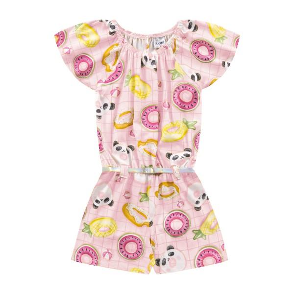 macaquinho infantil feminino pool rosa fakini 3018
