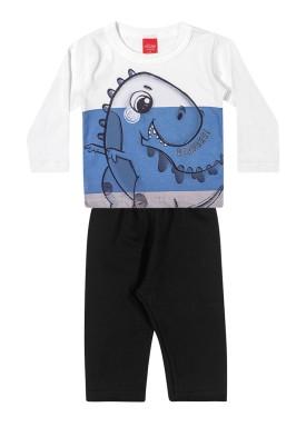 conjunto manga longa bebe masculino roarrr branco elian 20936 1
