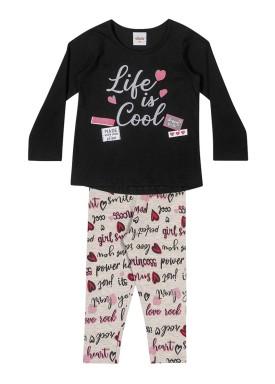 conjunto manga longa infantil feminino cool preto elian 231457 1