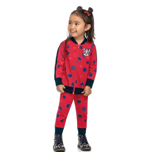 conjunto molecotton infantil feminino dog vermelho elian 231456 1