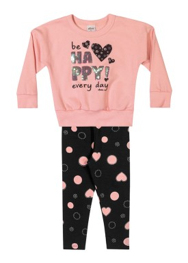 conjunto moletom infantil feminino be happy rosa elian 231452 1