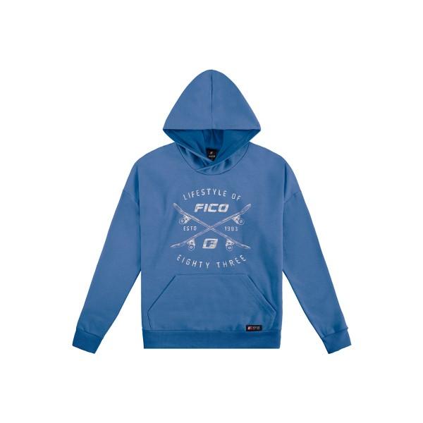 blusao moletom capuz juvenil masculino azul fico 68437
