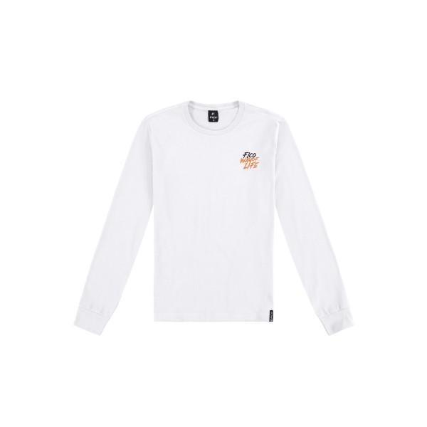 camiseta manga longa juvenil masculina lifestyle branco fico 68434