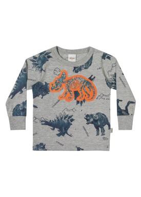 camiseta manga longa infantil masculina triceratops mescla elian 221103