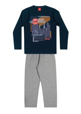 conjunto manga longa infantil masculino unstoppable marinho elian 241045 1