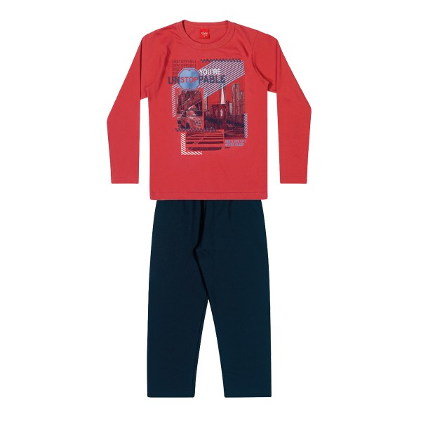 conjunto manga longa infantil masculino unstoppable vermelho elian 241045 1
