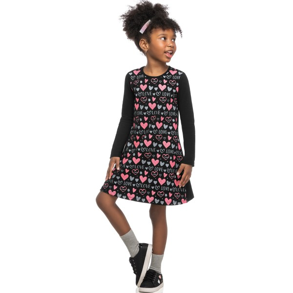 vestido manga longa infantil feminino love preto elian 251423 1
