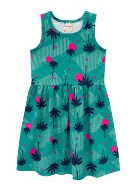 vestido infantil feminino palm trees verde brandili 34298