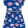 vestido infantil feminino peixes azul brandili 34187