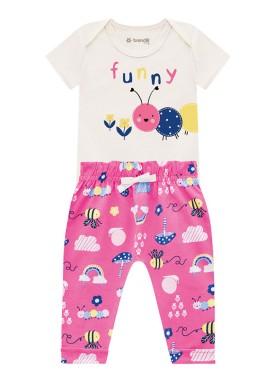 conjunto body e calca bebe feminino funny natural brandili 34336
