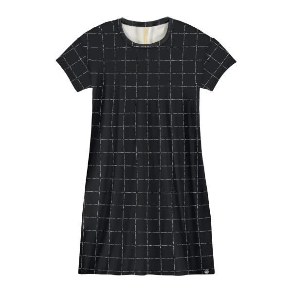 vestido juvenil feminino xadrez preto lunender hits 67573