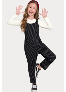 macacao com blusa infantil juvenil feminino preto alakazoo 67522 1