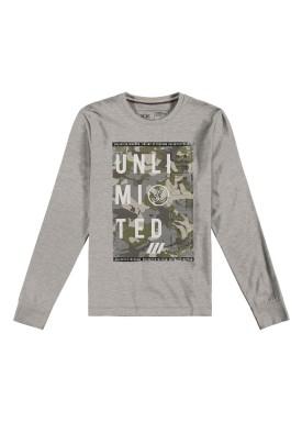 camiseta manga longa juvenil masculina unlimited mescla hangar33 70359