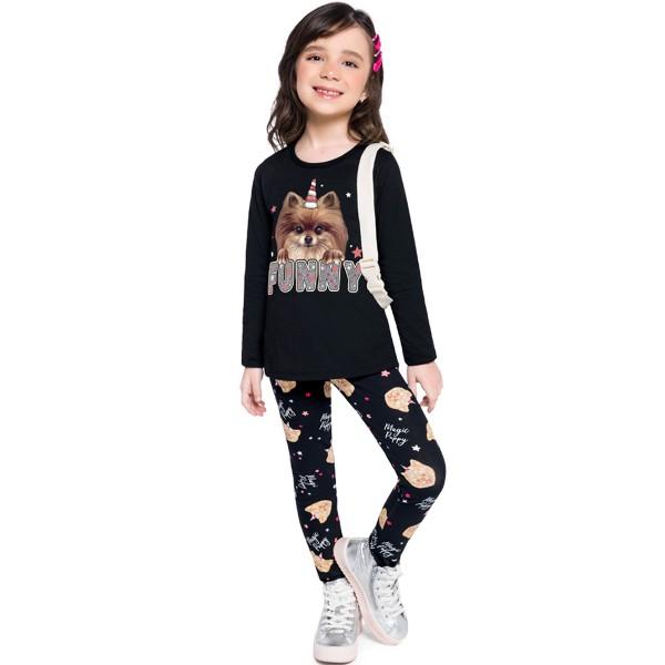 conjunto manga longa infantil feminino funny preto brandili 53950 1