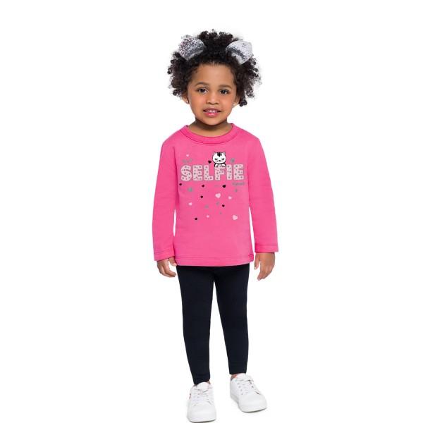 conjunto moletom bebe feminino selfie rosa brandili 53994 1