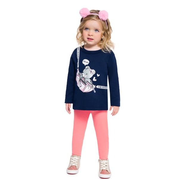 conjunto moletinho infantil feminino girl power marinho brandili 54281 1