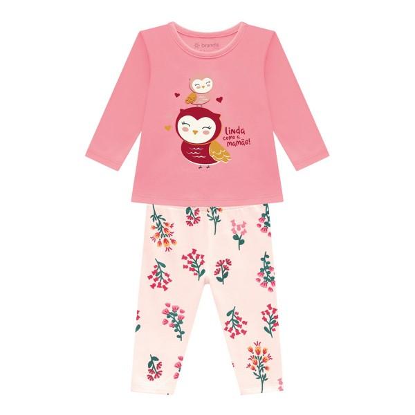 conjunto manga longa bebe feminino corujinha pessego brandili 54068 1