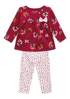 conjunto manga longa bebe feminino flores bordo brandili 54072 1