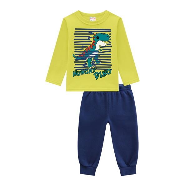 conjunto moletom bebe masculino hungry dino verde brandili 54002 1
