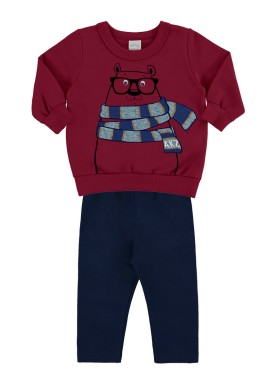 conjunto moletom bebe masculino urso bordo alakazoo 67365