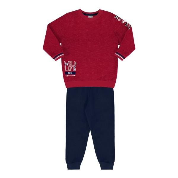 conjunto moletom infantil masculino wild life vermelho alakazoo 67377