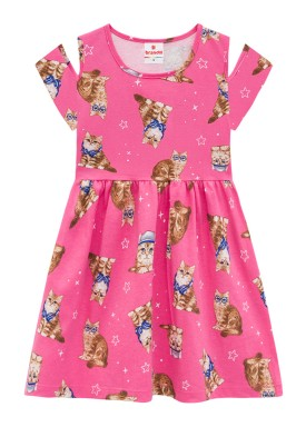 vestido infantil feminino cats rosa brandili 34226
